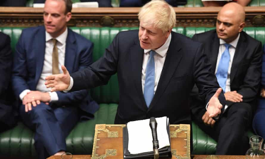 Boris Johnson (flanked by Dominic Raab and Sajid Javid) addresses the House of Commons