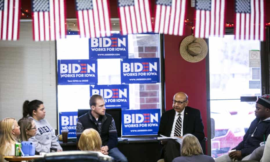 Khizr Khan meets with volunteers for Joe Biden during the Iowa caucus campaign in December 2019.