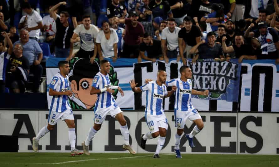 Nabil El Zhar celebrates his goal against Barcelona