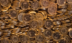 Piles of new £1 coins