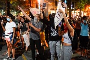 People protesting in the Atlanta, Georgia