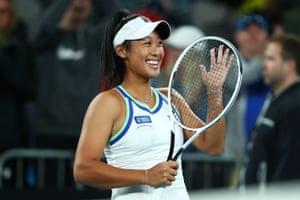 Priscilla Hon smiles after winning her first round match against Kateryna Kozlova.