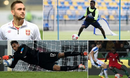 Clockwise from top left: Serbia's Andrija Zivkovic, the best player at the under-20 tournament in 2015; Joel Asoro of Sweden and Sunderland works on his game; Portugal's Bruma takes on Gornji Milanovac of the Czecjh Republic and Italy's Gianluigi Donnarumma completes a save in September's friendly against France.