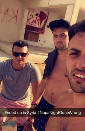 Lewis Ellis (left) and friends in Ayia Napa, pretending to be in Syria.