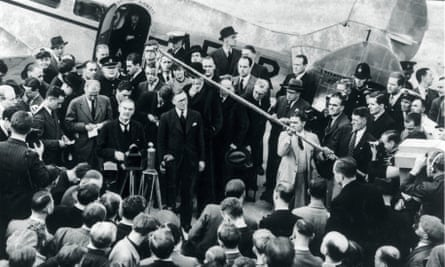Neville Chamberlain holds a press conference at Heston Airport on 17 September