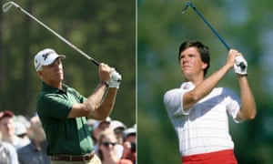 Larry Mize pictured at his 35th consecutive Masters and, in 1984, at his first appearance at the tournament.
