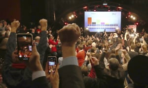 Social Democratic party supporters celebrate