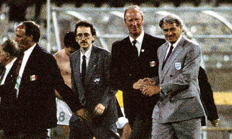 England manager Bobby Robson, right, shakes hands with Republic of Ireland manager Jack Charlton at Italia 90.