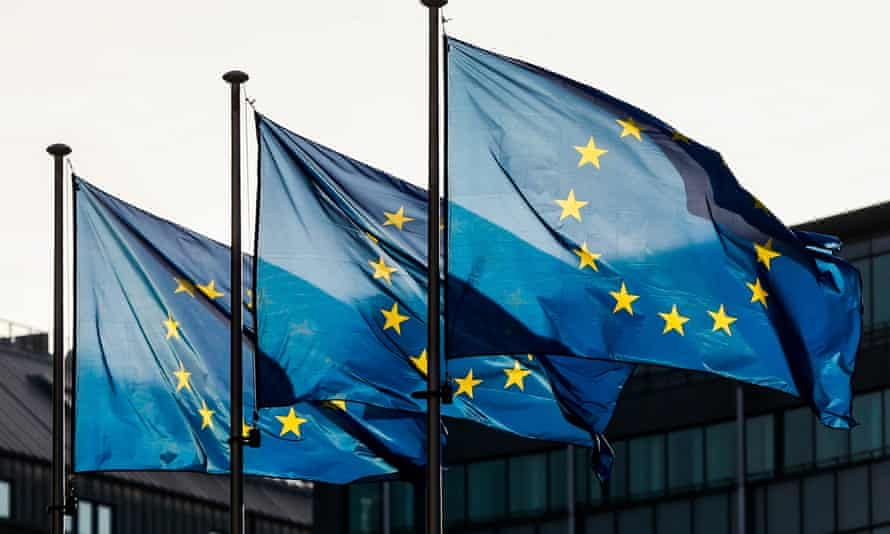 European flags at the European commission in Brussels.