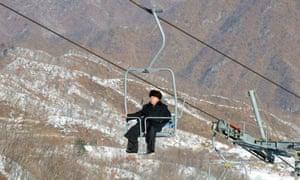 North Korean leader Kim Jong-un inspects the Masik Pass ski resort in December 2013.