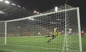 Enzo Scifo's shot bounces back off Peter Shilton's post