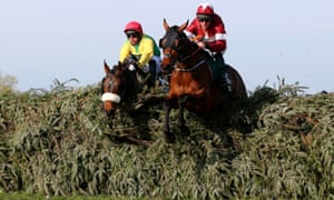 Tiger Roll and Magic Of Light at the last fence in the Grand National.