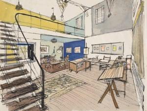 George Him's studio c. 1955 by George Him.