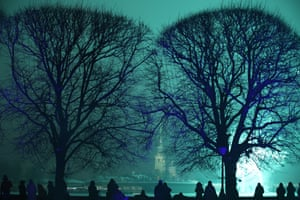 The Peter and Paul Fortress is illuminated in Saint Petersburg, Russia