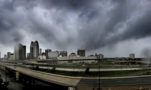 Storms clouds move in over the skyline of downtown Orlando as Hurricane Irma makes its way up the Florida peninsula.