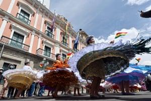 Morenada dancers at the Plaza de Armas during the celebrations of the Morenada national day