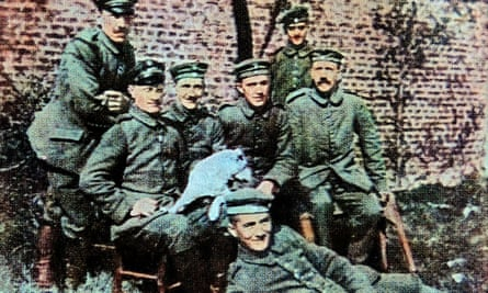 Adolf Hitler (seated, far right) in 1916.