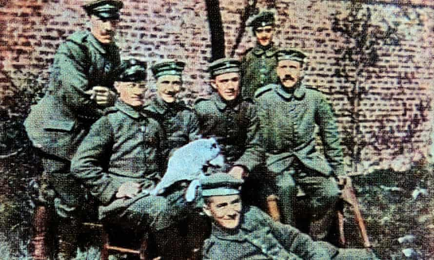 Hitler, far right, with fellow soldiers from his Bavarian unit in 1916.
