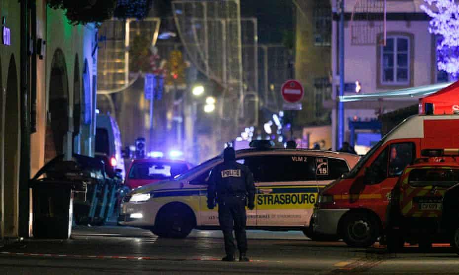 Policemen and emergency medical response vehicles in Strasbourg