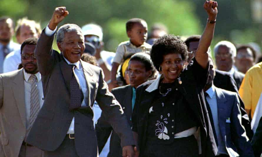 Nelson Mandela and his then wife Winnie after his release from prison in February 1990.