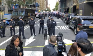 Police outside CNN's offices in New York.