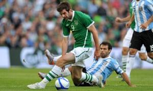Republic of Ireland striker Cillian Sheridan attempts to get the better of Javier Mascherano in the first ever match at the Aviva Stadium in Dublin.