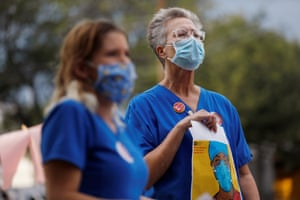 Nurses protest against the lack of PPE in St Petersburg, Florida.