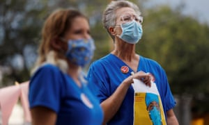 Nurses protest to highlight practices during the coronavirus disease pandemic at St Petersburg general hospital in Florida.