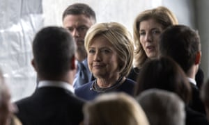 Hillary Clinton follows the casket during funeral and burial services for former first lady Nancy Reagan.
