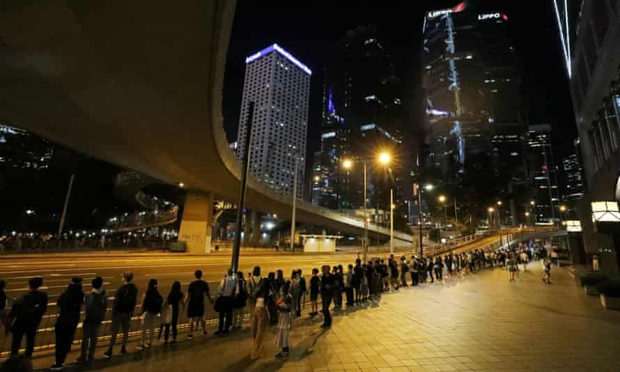 The human chain stretched across the city