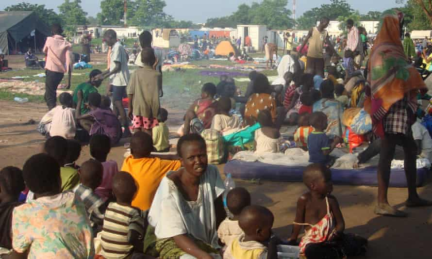 Some of the at least three thousand displaced women, men and children taking shelter at the UN compound in Tomping area in Juba.