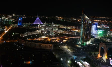 Astana by night, with Foster's Khan Shatyr tent to the left.