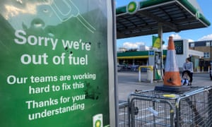A BP petrol station that has run out of fuel is seen in south London, Britain, September 27, 2021.