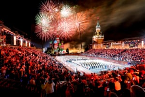 The closing ceremony of the Spasskaya Tower international military music festival in Moscow, Russia