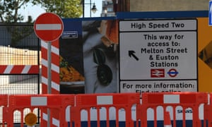 A sign at the HS2 construction site at Euston station in London