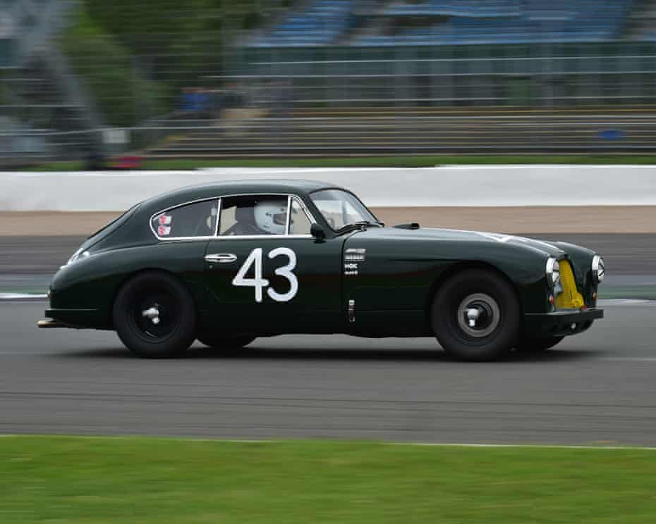 Verhofstadt races his Aston Martin  in the Silverstone Classic, 2017.