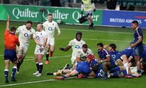 Cowan-Dickie scores as Henry Slade celebrates