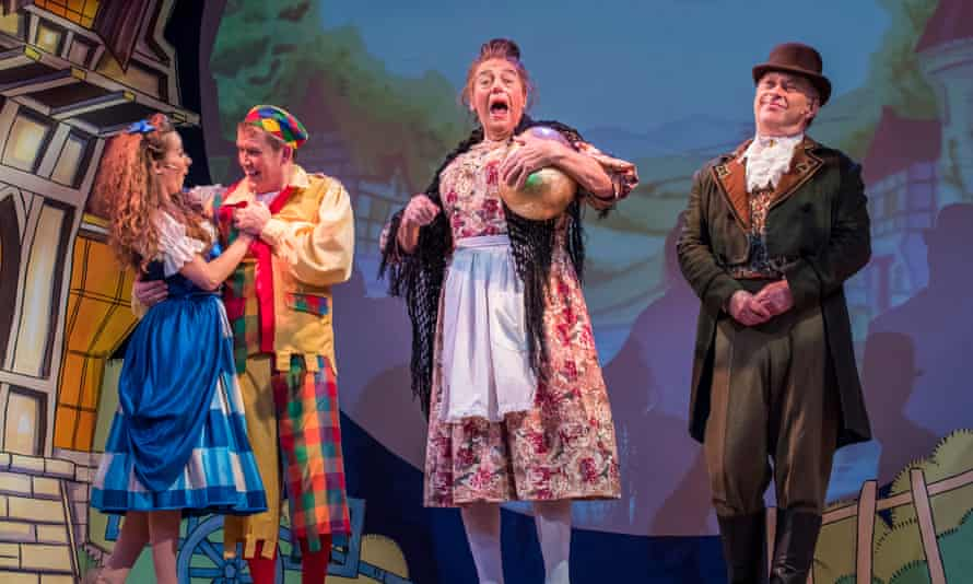 Roy Hudd, centre, as Mother Goose in pantomime at Wilton's Music Hall, 2016.