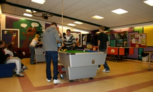 Kids playing pool in a youth club