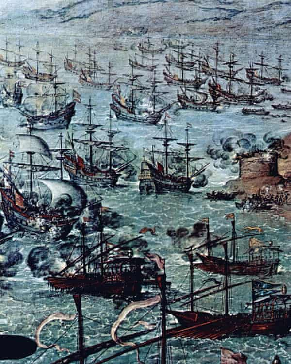 Sir Francis Drake in the harbour of Cadiz.