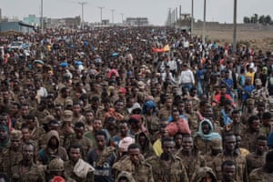 According to the Tigray Defence Forces, more than 7,000 captive Ethiopian soldiers have walked from Abdi Eshir, about 47 miles (75 km) south-west of Mekelle, for four days.