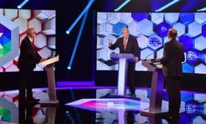 The BBC leadership debate Boris Johnson and Jeremy Corbyn during the BBC TV debate in Maidstone, Kent.