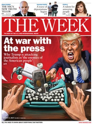 """Howard McWilliam for The Week""""In Trump's case, he's invariably already pulled just the kind of cartoonish expression one is looking for and had it captured on camera. This is certainly the case for the kind of bellicose anger I needed for this cover, after he described the mainstream media as """"the enemy of the American people."""" My style of three dimensional realism is particularly useful for images like this, giving us someone else's view, putting the reader in the position of the journalist in this case. It's very easy to imagine Trump lashing out and destroying a typewriter."""""""
