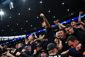 Ajax fans celebrate their first goal.