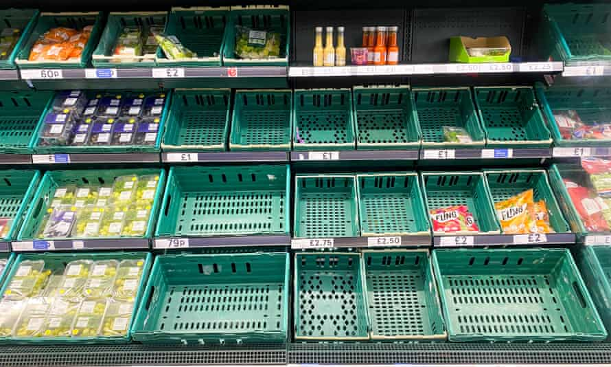 Empty salad shelves at Tesco in Greenfield, Glasgow.