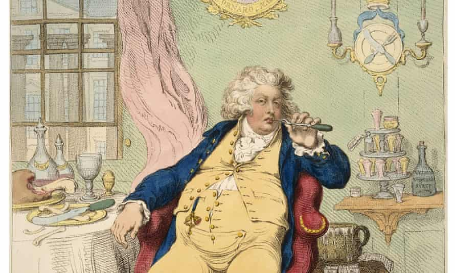 James Gillray's A Voluptuary under the horrors of Digestion, 1792 (detail; full image below).