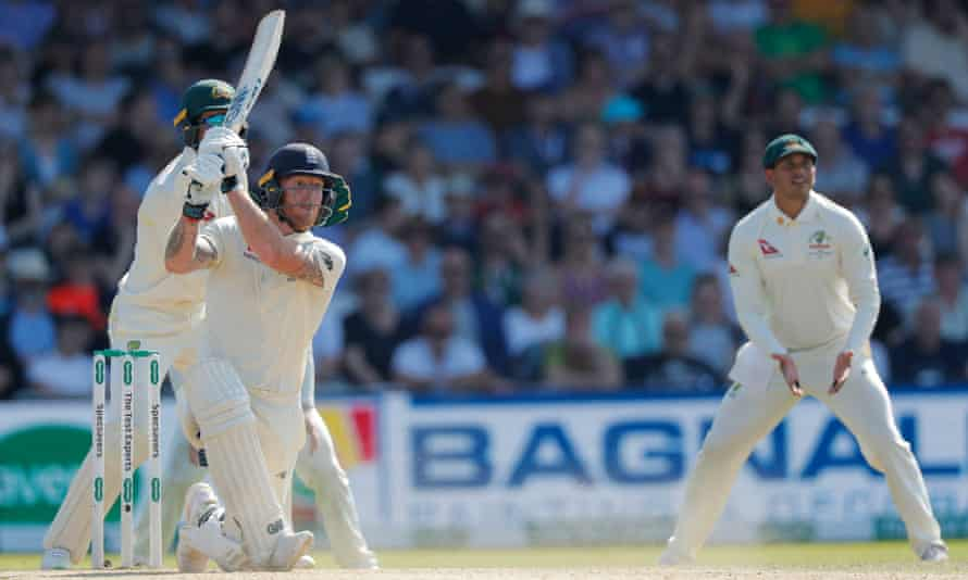 Ben Stokes hits a six on his way to 135 not out at Headingley.