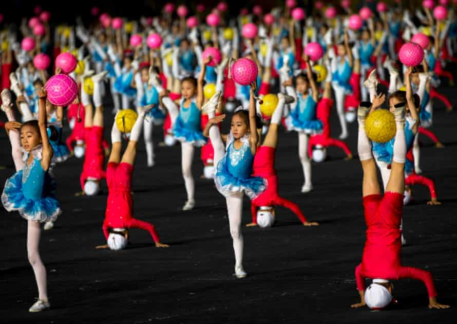 North Korean children perform with balloons during the Arirang mass games in Pyongyang, North Korea, in September 2012