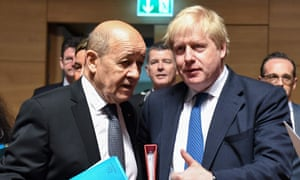 Jean-Yves Le Drian and Boris Johnson, when he was foreign secretary, at an EU meeting in 2018