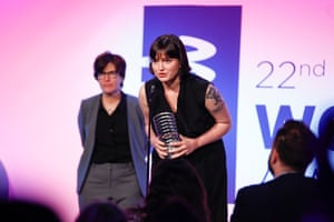 Susan Fowler is honoured at the 22nd Annual Webby awards in New York, 2020